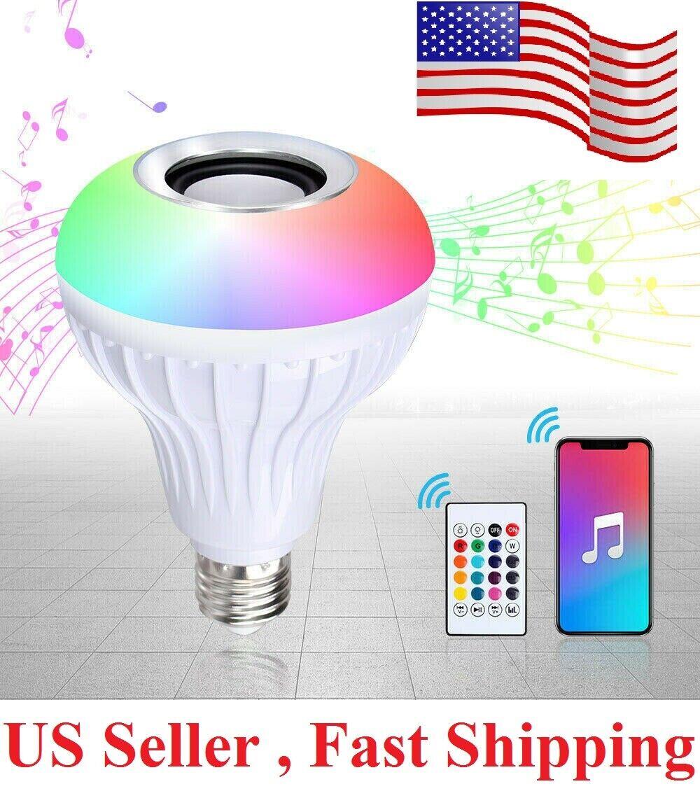 Wireless App Bluetooth LED Light Speaker Bulb RGB E27 12W Music Playing  Remote Home & Garden