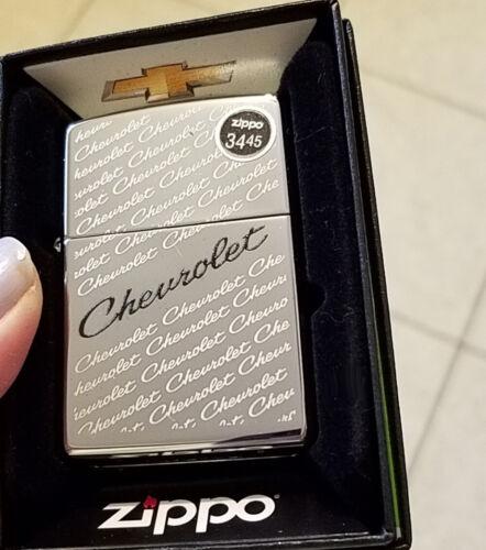 ZIPPO 49305 Chevrolet Script Chevy High Polish Chrome NEW in box  Lighter F