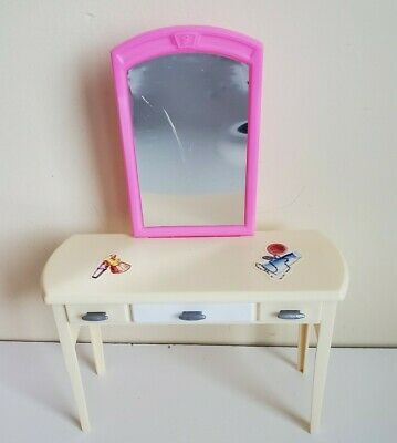 Barbie Vanity Desk with Mirror & Drawers Dreamhouse Doll House Furniture