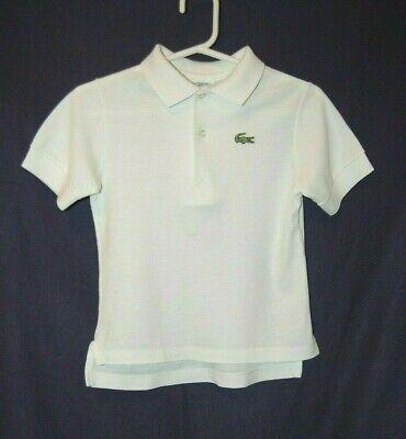 Vintage Lacoste Izod Boys White Polo Short Sleeve Shirt Size 7