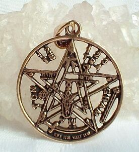 New Superb Large Bronze Tetragrammaton Pentagram Pentacle Pendant~Pagan~Talisman