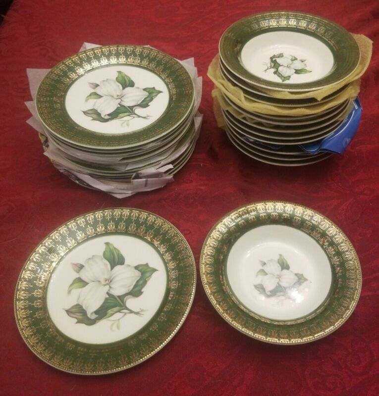 LIMOGES-AMERICAN L TRIOMPHE small Bowls & plates Trillium Forest Green Filigree