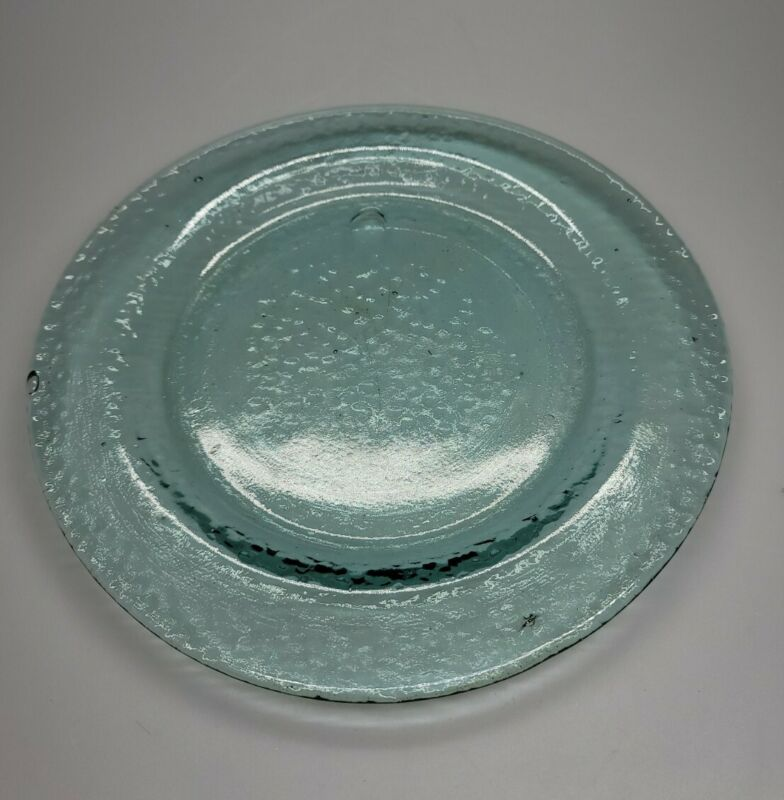"""Recycled Glass Plate, Platter,Charger, Round 10"""", Green Bubbles EUC"""