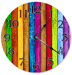 COLORED WOOD BOARDS Clock - Large 10.5 Wall Clock - 2268