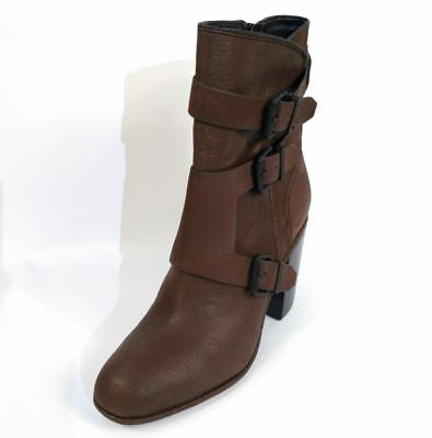 NIB WOMEN CALVIN KLEIN LEATHER SUSIE STRAPPED ANKLE HEELED DARK BROWN BOOTS 8.5 ](Susie Boots)