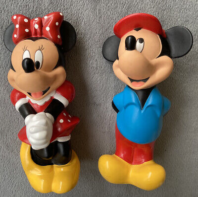 Vintage Minnie And Mickey Mouse Hard Rubber Sweet Couple! EUC Multicolored Lot2