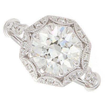 2.48ct Round GIA Certified Vintage Platinum Diamond Engagement Ring