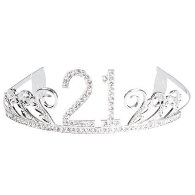 21st Birthday Party Princess Tiara Sparkle Glitter Rhinestone Crown with Combs