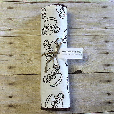 - Chenille Burp Cloth Monkeys Brown White Flannel NEW Baby Neutral