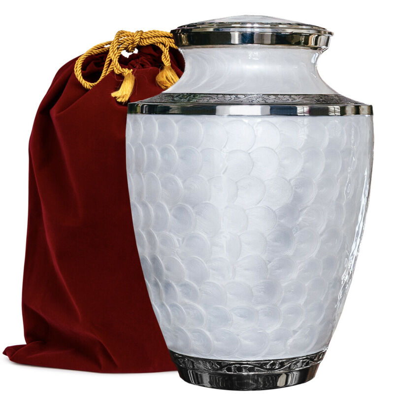 Everlasting Love Beautiful Timeless White Adult Cremation Urn For Human Ashes