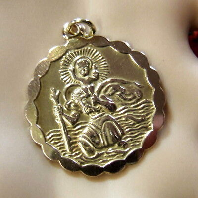 9 ct GOLD  second hand saint christopher pendant