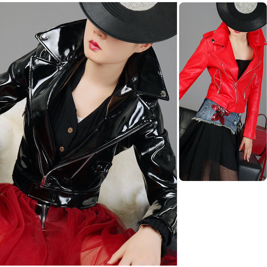 Womens Girl/'s Leather Coat Patent Leather Coat Motorcycle Jacket Faux Leather