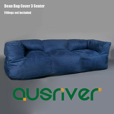 Classic Office Living Room 3 Person Couch Seater Bean Bag Cover Navy BB3PNVY - Navy Bean Bag