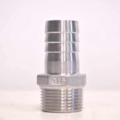 1 Inch Hose Tail Barb Fitting 1 Male Npt X 1 Barb Stainless Steel 316