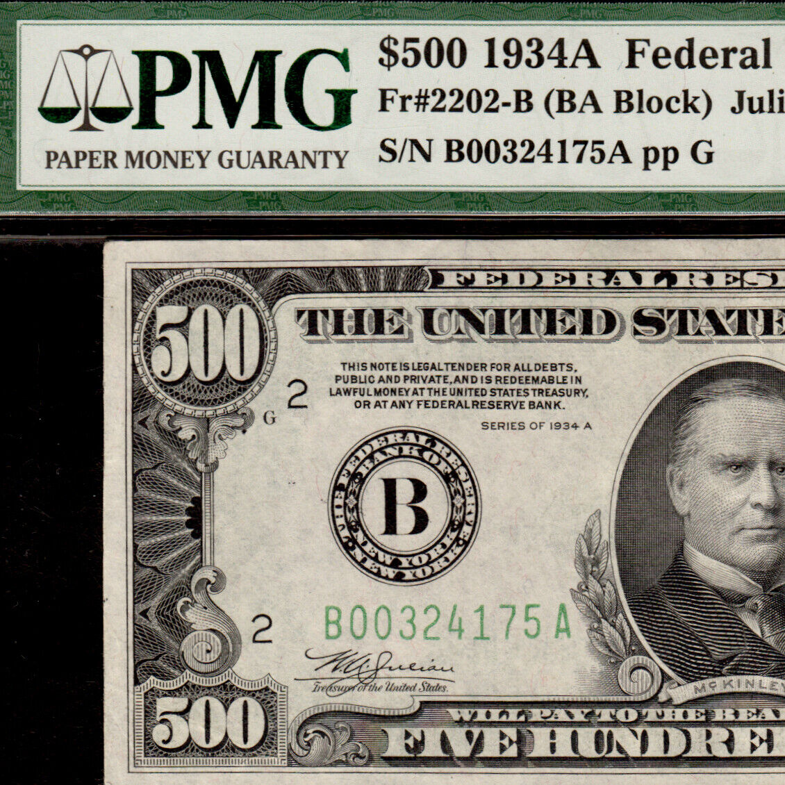 PMG AU 50 EPQ 1934A 500 New York Five Hundred Dollar Bill 1000 Fr.2202B 324175A - $2,382.00
