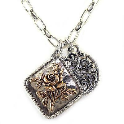 Layered Charm Necklace Pewter Sterling Silver 14K Gold Flower Crystal (Sterling Silver Layered Charm Necklace)