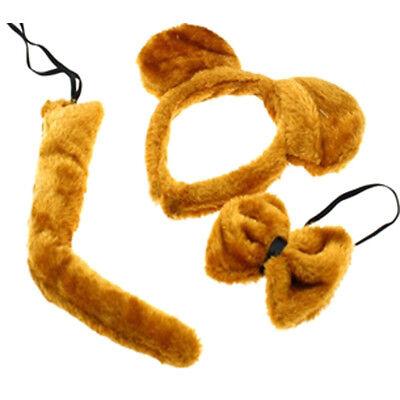 GOLDEN BEAR FANCY DRESS SET EARS HEADBAND TAIL BOW TIE KIT WORLD BOOK DAY ANIMAL