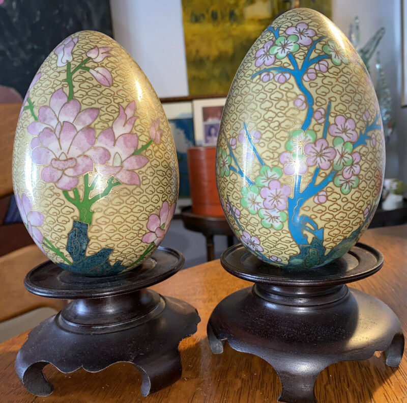 Vintage Pair Chinese Cloisonne Enameled Brass Eggs With Wood Stands