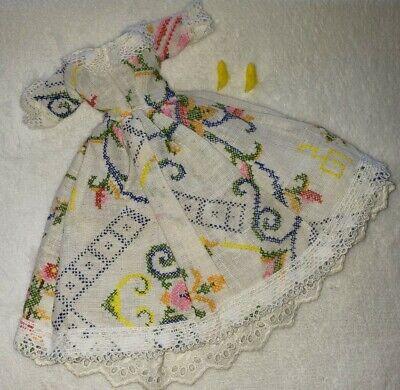 Vintage Clone Barbie 70s 80s Needle Point Print Floral Lace Peasant Dress