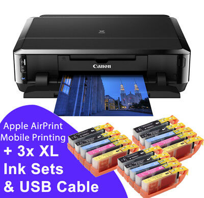 Canon PIXMA iP7250 WiFi USB Photo CD DVD Printer + 3 sets of XL Inks + USB Cable
