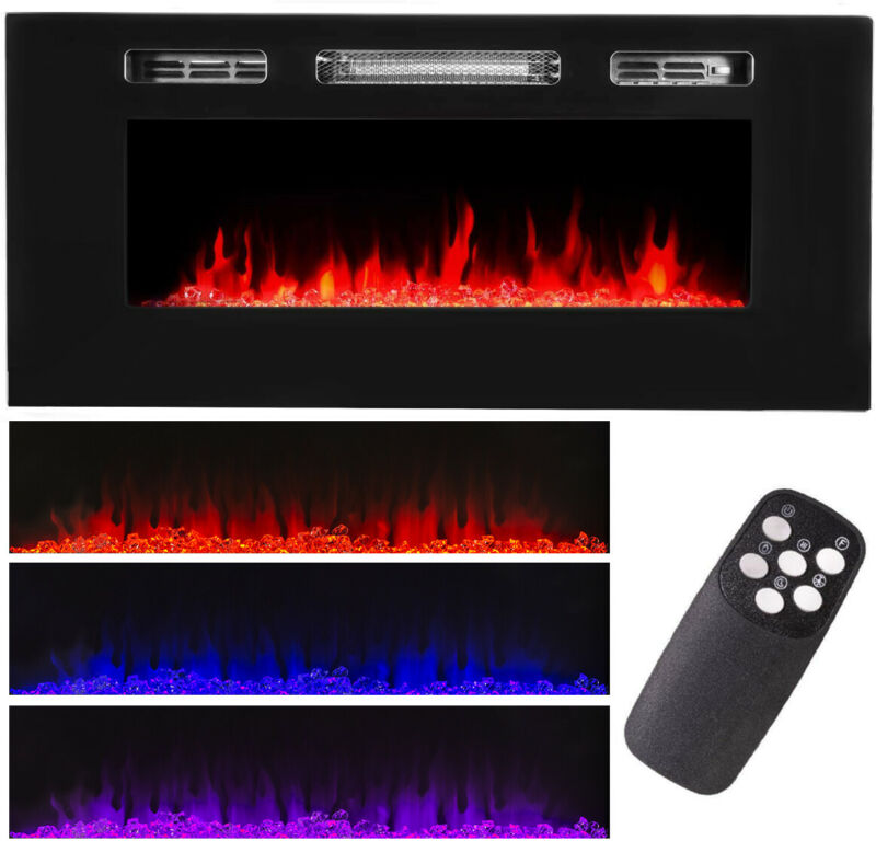 """40"""" 1500W Recessed / Wall Mount Fireplace Electric Insert Heater Multi Flames"""