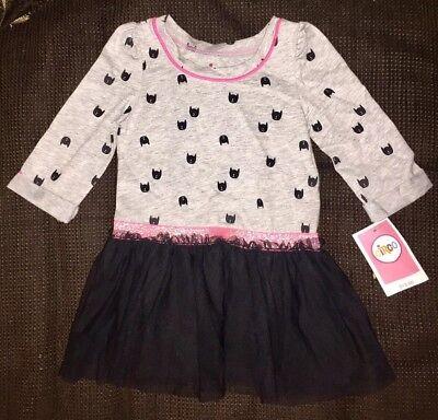 TODDLER BABY GIRL HALLOWEEN BLACK BATS TUTU TULLE DRESS SIZE 3T NWT CIRCO