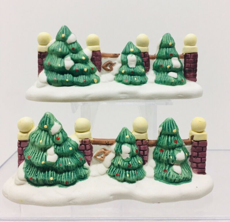Christmas-village accessories porcelain fence with trees
