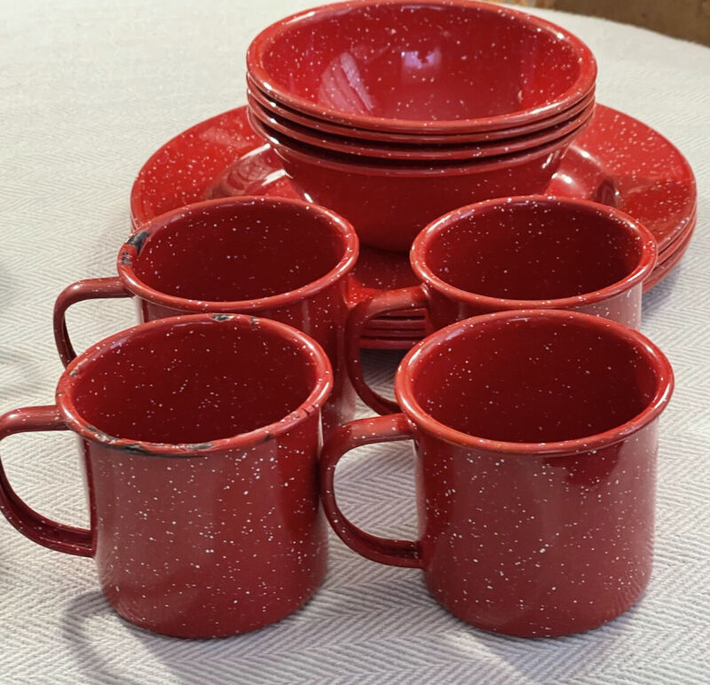 Red Speckled ENAMEL over Metal set of 12