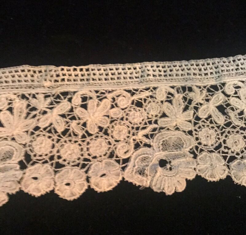 ANTIQUE FINE HANDMADE LACE TRIM: 50 Inches Long
