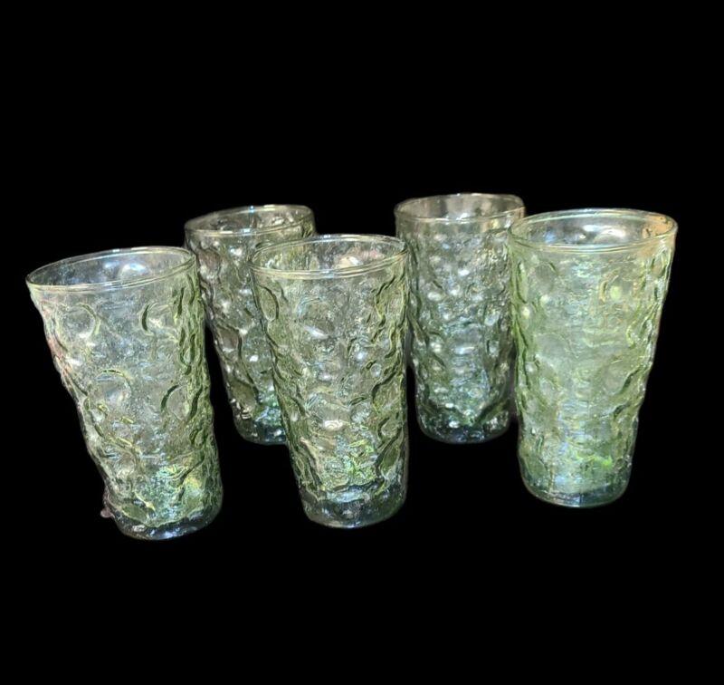 "Set of 5 MCM Avocado Green Glass Anchor Hocking Lido Milano 12oz Tumblers 5.5"" T"