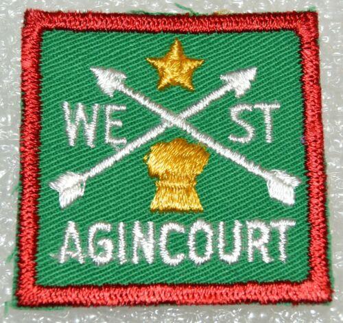 WEST AGINCOURT DISTRICT Cut Edge Square Boy Scout Uniform Badge Canadian (ONW10A