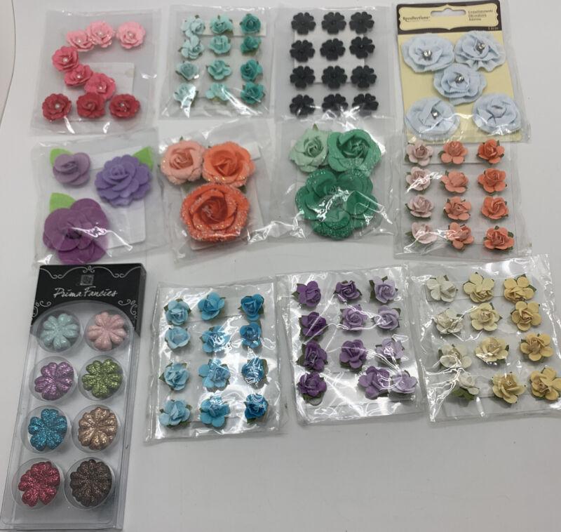Scrapbooking Crafts Flower Embellishments Pastels Lot