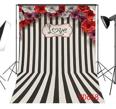 Valentines Black & White Striped Flowers Vinyl Studio Backdrop Background 5x7FT