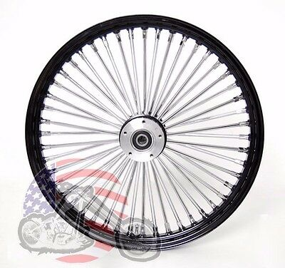 Black 48 King Spoke Fat 21 2.15 Front Wheel Dual Disc Harley Touring & Softail