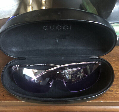 Vintage GUCCI Silver Shield Sunglasses Made in Italy 115 GG 2681 S Frames & Case