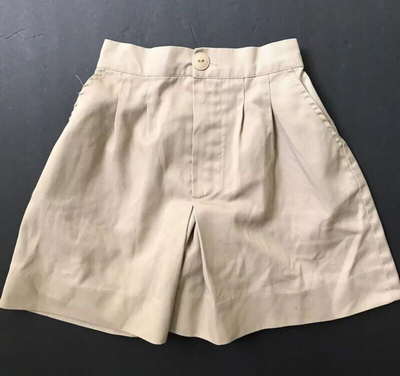 Vicki Marsha Girls Uniform School Culottes Skort Skirt Shorts Size 6 Khaki Beige