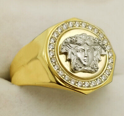 10K Yellow Gold Men's Versace Symbol Ring Medusa Face Ring