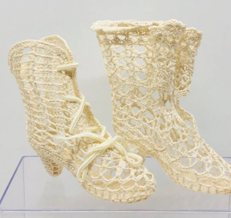 2 Vintage Stiffened Crochet Christmas Ornament Victorian Lace Up Boots Shoes