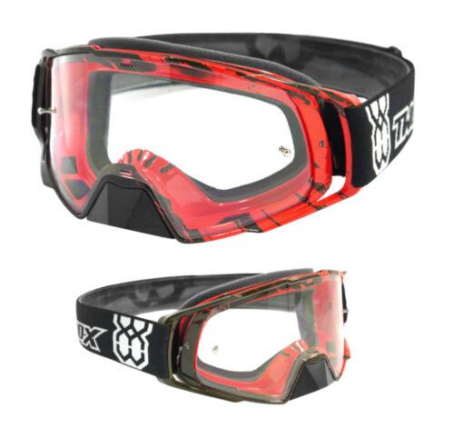TWO-X Rocket Crossbrille Crush MX Cross Brille Nasenschutz Fast Change klar rot