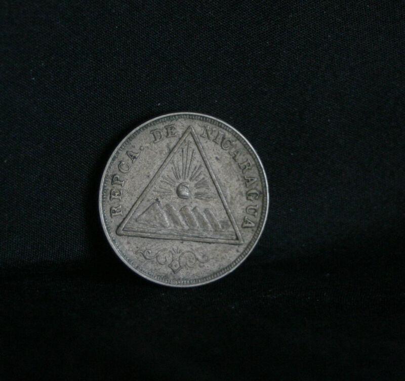 Nicaragua 5 Centavos 1899 World Coin KM9 Pyramid Volcanoes Nice Central America