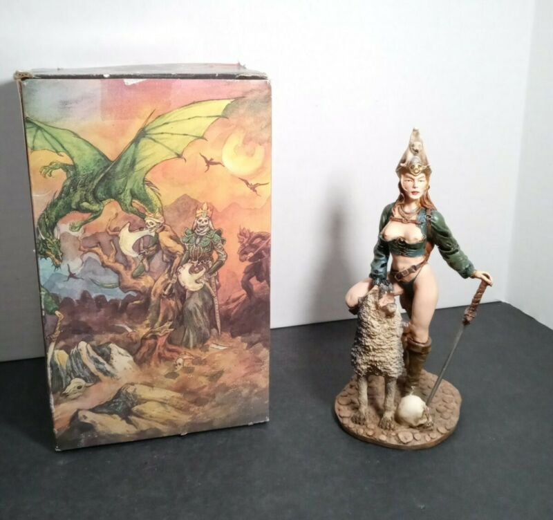 """Myths & Legends Female Warrior w/ Pet Wolf Statue 9"""" Hand Painted"""