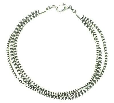 Beautiful Navajo Pearls Sterling Silver 3-Strand Beads Necklace