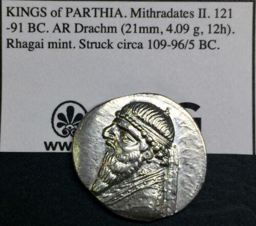 Kings of Parthia. Mithradates II. 121-91 BC. AR Drachm SIMPLY GORGEOUS LUSTER