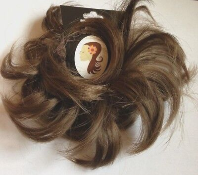Hair Scrunchie Wrap Hairpiece Bun Updo Extension Messy Medium Brown small