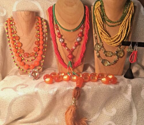 ORANGE/YELLOW/GREEN Jewelry Lot*Vintage-Now Necklaces-Bracelets* Seed Beads a20