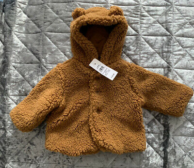 0-3 GAP Sherpa Boy Girls Coat Jacket Light Brown Teddy Warm Fur Gift Baby £26