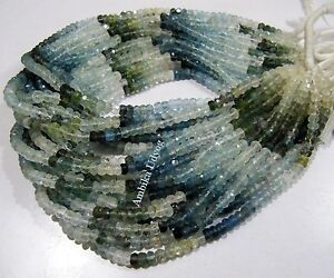 AAA Quality Natural Moss Aquamarine Rondelle Faceted Beads 4-5mm, Strand 13 inch