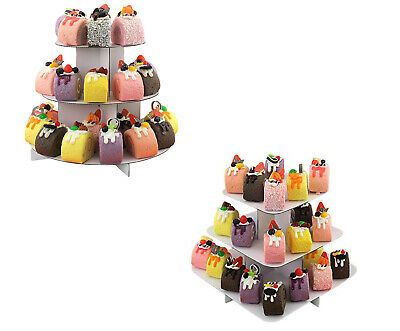 White  3 Tier Cupcake Stand Round Square Cardboard Pastry Display Tower (Cardboard Cupcake Stand)