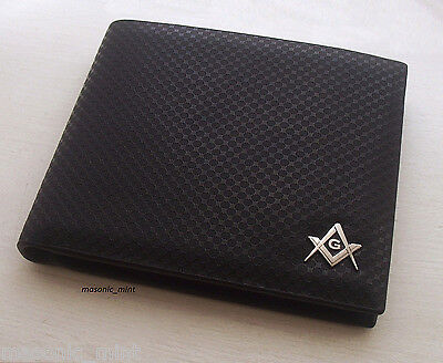 'MASONIC G' MENS LUXURY WALLET, BLACK LEATHER, FREEMASON SQUARE & COMPASS, GIFT