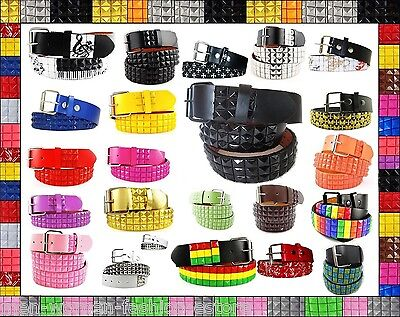 (Unisex 3-Row Metal Pyramid Studded Leather Belt Mens Womens Punk Rock Goth Emo)